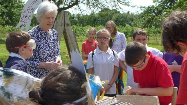 Lady Darnley created Art in the Orchard with school children from Herefordshire Image: Hereford Times